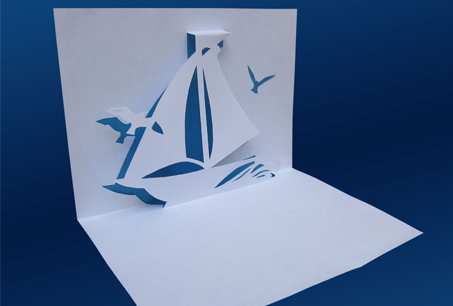 Шаблон киригами «Кораблик»