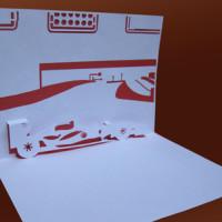 Шаблон киригами «Машина Ferrari»