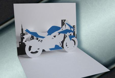 Открытка киригами «Мотоцикл»